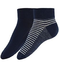 Levis Ankle Socks - 2-Pack - Mid Cut - Navy/Denim Striped