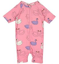 Småfolk Coverall Swimsuit - UV50+ - Pink w. Swans