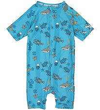 Småfolk Coverall Swimsuit - UV50 - Aqua w. Sea Animals