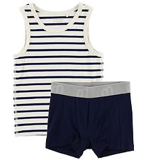 Minymo Underwear Set - Bamboo - White/Navy Striped