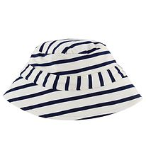 Minymo Bucket Hat - Bamboo - White/Navy Striped