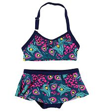 Color Kids Bikini - Tracy - UV40+ - Navy/Pink w. Peacock Feather