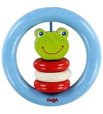 Haba Rattle - Wood - Frog - Light Blue