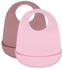 We Might Be Tiny Bib - 2-Pack - Silicone - Powder Pink/Dusty