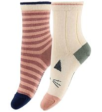 Liewood Socks - 2-Pack - Silas - Cat - Stripe Coral Blush