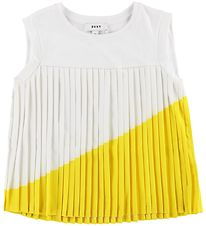 DKNY Top - Pleated - White/Yellow
