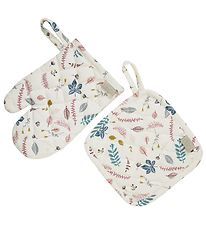 Cam Cam Oven Mitts & Pot Holder - Pressed Leaves Rose