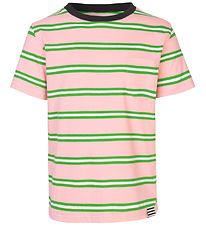 Mads Nørgaard T-shirt - Trolino - Pink/Green Striped