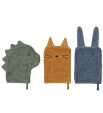 Liewood 3-Pack Washcloth - Sylvester - Dino/Cat/Rabbit