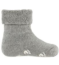 Fuzzies Baby Socks w. Anti-Slip - Light Grey