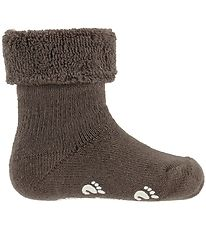 Fuzzies Baby Socks w. Anti-Slip - Walnut