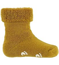 Fuzzies Baby Socks w. Anti-Slip - Mustard