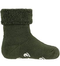 Fuzzies Baby Socks w. Anti-Slip - Army Green