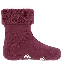 Fuzzies Baby Socks w. Anti-Slip - Bordeaux
