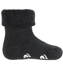 Fuzzies Baby Socks w. Anti-Slip - Charcoal