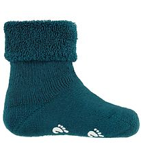 Fuzzies Baby Socks w. Anti-Slip - Petrol
