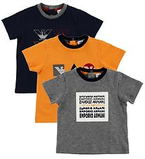 Emporio Armani 3-Pack T-shirt - Grey Melange/Black/Orange