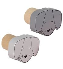 Smallstuff Wall Hooks - 2-Pack - Dog - D5 cm - Dark Grey/Light G