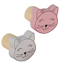Smallstuff Wall Hooks - 2-Pack - Cat - D4 cm - Pink/Light Grey