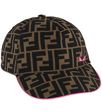 Fendi Cap - Brown w. Allover Logo/Pink