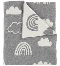 Bloomingville Blanket - 110x80 - Grey w. Rainbows/Clouds