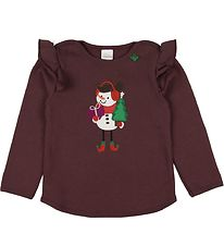 Freds World Sweatshirt - Burgundy w. Snowman