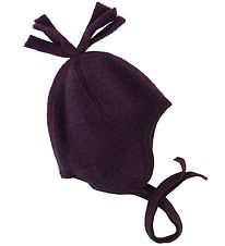 Engel Baby Hat - Wool - Melange Purple w. Pom-Pom