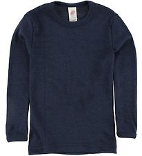 Engel Long Sleeve Top - Wool/Silk - Navy-Blue