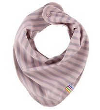 Joha Teething Bib - Wool/Cotton - Powder/Lavender Striped