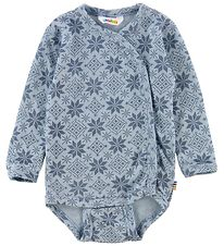 Joha Wrap Bodysuit L/S - Wool - Light Blue/Stars