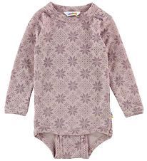 Joha Bodysuit L/S - Wool - Rose/Stars