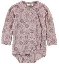 Joha Wrap Bodysuit L/S - Wool - Rose/Stars