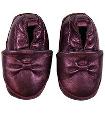 Melton Leather Slippers - Violet w. Bows