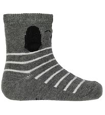 Melton Socks - Grey Melange w. Dog
