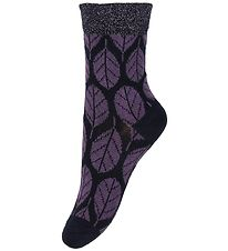 Melton Socks - Navy w. Leaves/Glitter