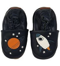Melton Soft Sole Leather Shoes - Navy w. Rocket/Planet