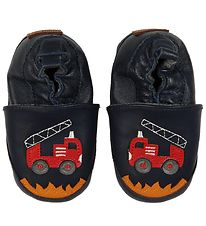 Melton Leather Slippers - Navy w. Firetruck