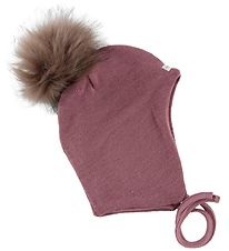 Racing Kids Baby Hat w. Pompom - Wool/Cotton - Double Layer - Ro