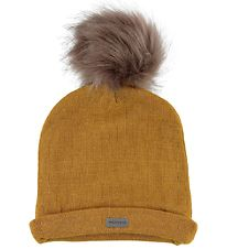 Racing Kids Hat w. Pompom - Wool/Cotton - Double Layer - Mustard