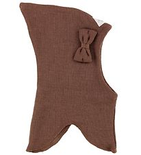 Racing Kids Balaclava - Wool/Cotton - Double Layer - Brown w. Bo