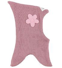Racing Kids Balaclava - Wool/Cotton - Double Layer - Rose w. Flo