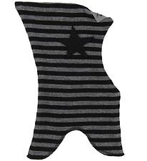 Racing Kids Balaclava - Wool/Cotton - Double Layer - Black/Grey