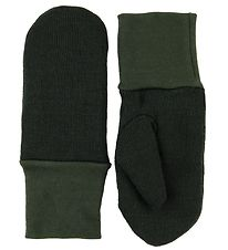 Racing Kids Mittens - Wool/Polyester - Dark Green