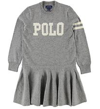 Polo Ralph Lauren Dress - Wool/Cotton- Grey Melange w. White