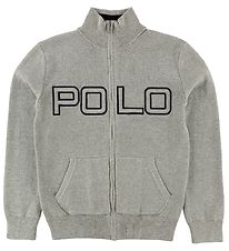 Polo Ralph Lauren Zip Cardigan - Knitted - Grey Melange w. Text