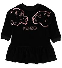 Kenzo Dress - Galeane - Velvet - Black w. Rose Tigers
