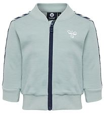 Hummel Zip Cardigan - Wool/Cotton - Wulba - Mint/Navy w. Logo