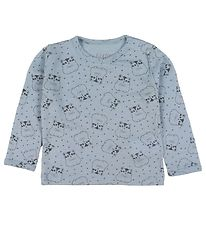 Fixoni Long Sleeve Top - Joy - Wool/Silk - Blue w. Hamster