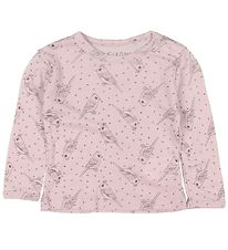 Fixoni Long Sleeve Top - Joy - Wool/Silk - Rose w. Birds