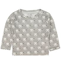 Fixoni Long Sleeve Top - Joy - Wool/Silk - Grey w. Sheep